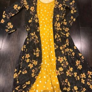 Lularoe Nicki and Sarah outfit mustard polka dot